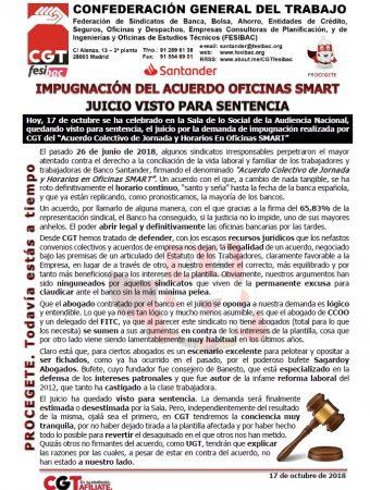 Juicio impugnación acuerdo oficinas SMART visto para sentencia